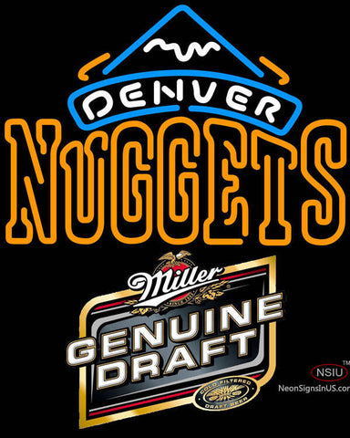 Miller Genuine Draft Denver Nuggets NBA Neon Sign