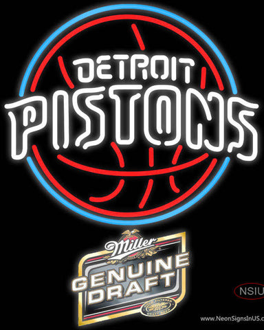 Miller Genuine Draft Detroit Pistons NBA Neon Sign