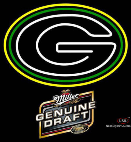 Miller Genuine Draft Green Bay Packers NFL Neon Sign