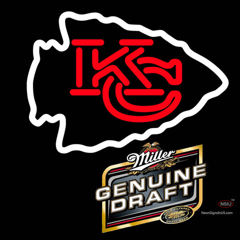 Miller Genuine Draft Kansas City Chiefs NFL Neon Sign   x