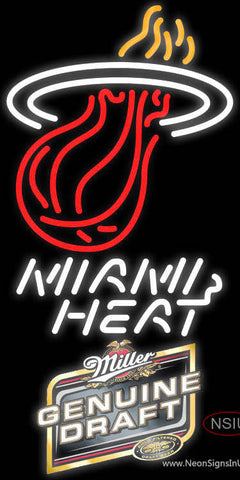 Miller Genuine Draft Miami Heat NBA Neon Sign