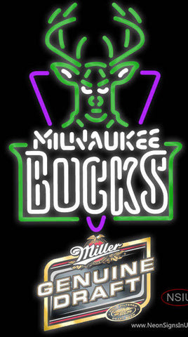 Miller Genuine Draft Milwaukee Bucks NBA Neon Sign