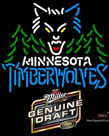 Miller Genuine Draft Minnesota Timber Wolves NBA Neon Sign