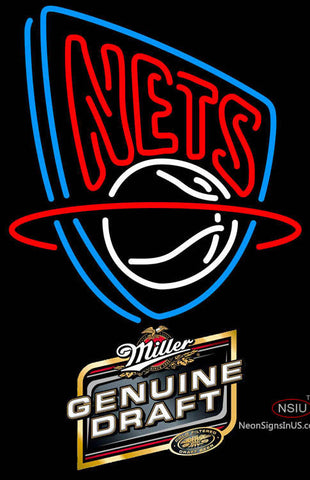 Miller Genuine Draft New Jersey Nets NBA Neon Sign