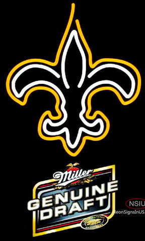 Miller Genuine Draft New Orleans Saints NFL Neon Sign
