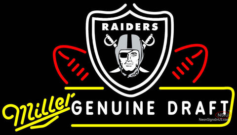 Miller Genuine Draft Oakland Raiders Neon Beer Sign