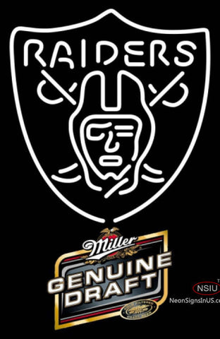 Miller Genuine Draft Oakland Raiders NFL Neon Sign  7
