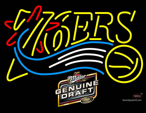 Miller Genuine Draft Philadelphia 7ers NBA Neon Sign