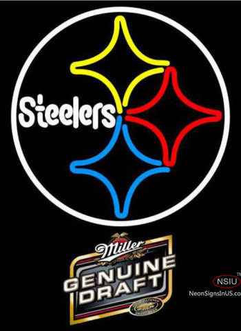 Miller Genuine Draft Pittsburgh Steelers NFL Neon Sign