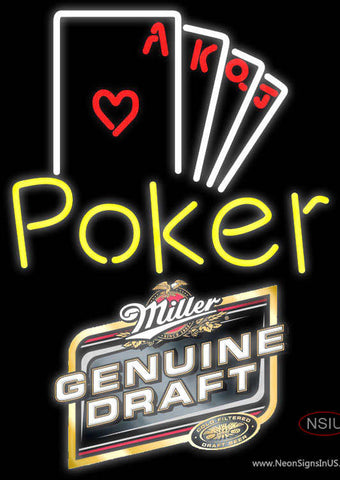 Miller Genuine Draft Poker Ace Series Neon Sign