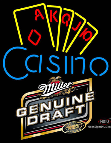 Miller Genuine Draft Poker Casino Ace Series Neon Sign