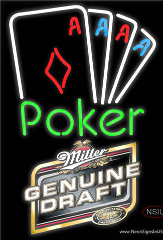 Miller Genuine Draft Poker Tournament Neon Sign