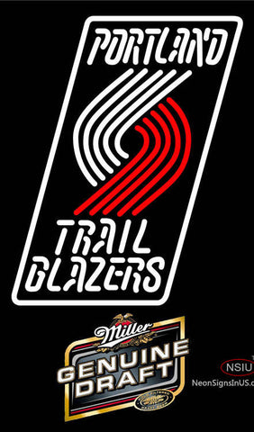 Miller Genuine Draft Portland Trail Blazers NBA Neon Sign