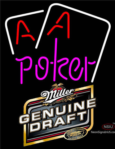 Miller Genuine Draft Purple Lettering Red Aces White Cards Neon Sign