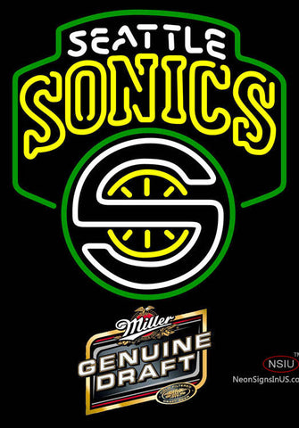 Miller Genuine Draft Seattle Supersonics NBA Neon Sign