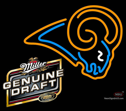 Miller Genuine Draft St Louis Rams NFL Neon Sign  7