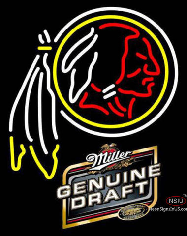 Miller Genuine Draft Washington Redskins NFL Neon Sign