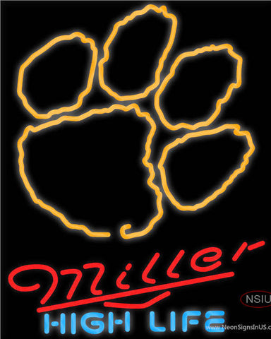 Miller High Life Clemson UNIVERSITY Tiger Print Neon Sign