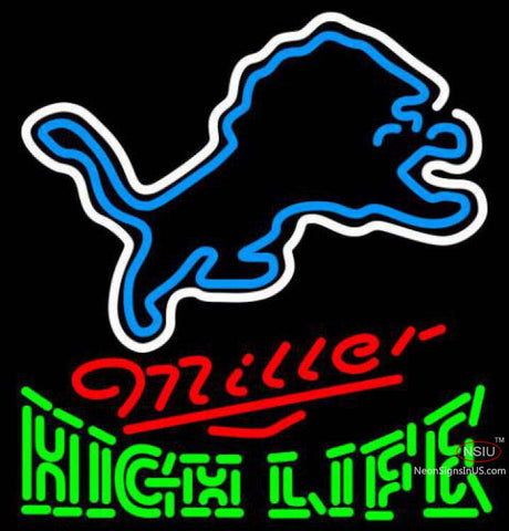 Miller High Life Detroit Lions NFL Neon Sign