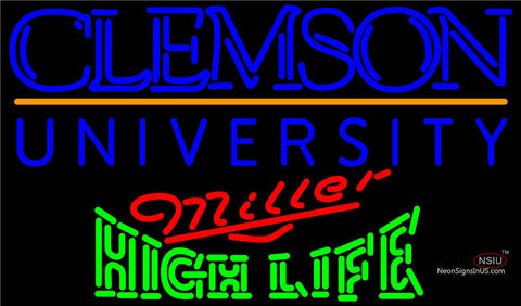 Miller High Life Green Clemson UNIVERSITY Neon Sign