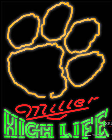Miller High Life Green Clemson UNIVERSITY Tiger Print Neon Sign