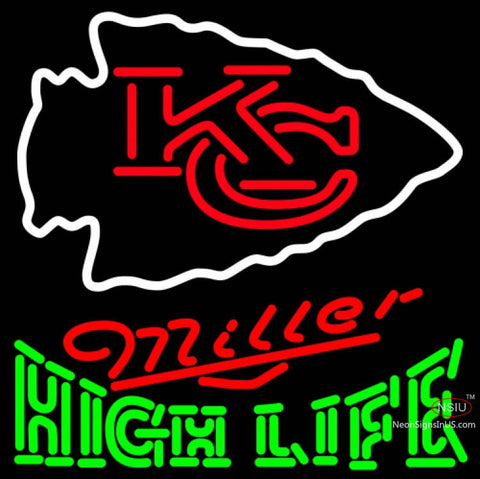 Miller High Life Green Kansas City Chiefs NFL Neon Sign