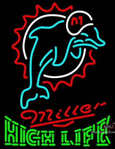 Miller High Life Green Miami Dolphins NFL Neon Sign
