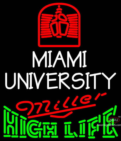 Miller High Life Green Miami UNIVERSITY Neon Sign