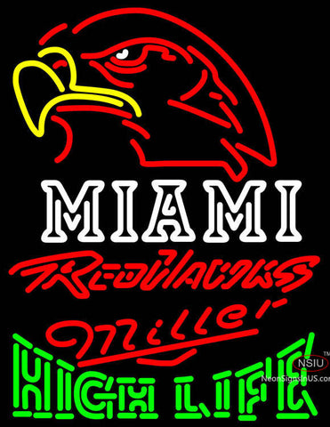 Miller High Life Green Miami UNIVERSITY Redhawks Neon Sign