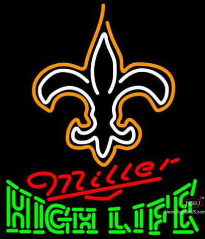 Miller High Life Green New Orleans Saints NFL Neon Sign