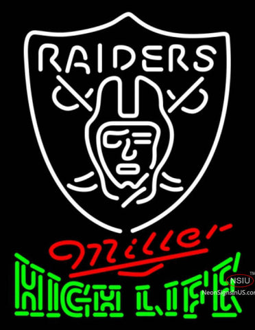 Miller High Life Green Oakland Raiders NFL Neon Sign