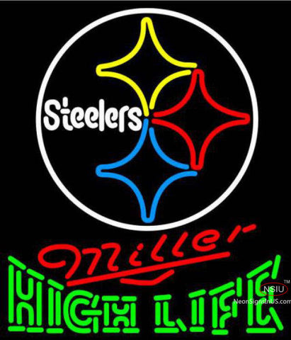Miller High Life Green Pittsburgh Steelers NFL Neon Sign