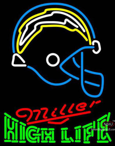 Miller High Life Green San Diego Chargers NFL Neon Sign