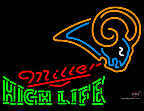 Miller High Life Green St Louis Rams NFL Neon Sign