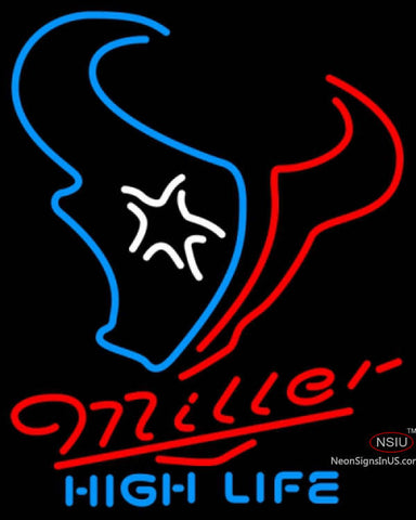 Miller High Life Houston Texans NFL Neon Sign