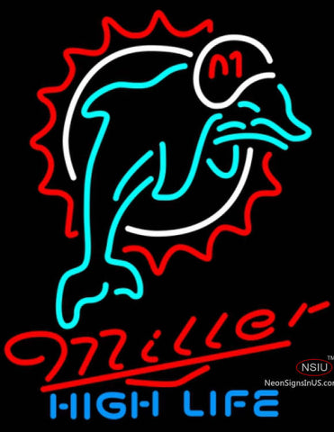 Miller High Life Miami Dolphins NFL Neon Sign