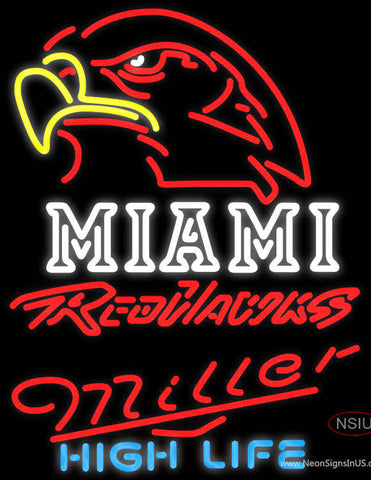 Miller High Life Miami UNIVERSITY Redhawks Neon Sign