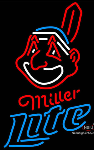 Miller Light Neon Cleveland Indians MLB Neon Sign