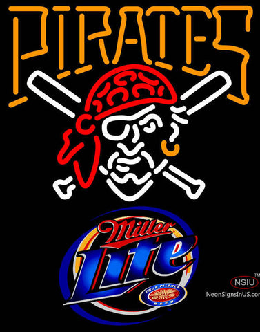 Miller Light Pittsburgh Pirates MLB Neon Sign