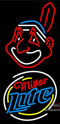 Miller Light Rounded Cleveland Indians MLB Neon Sign
