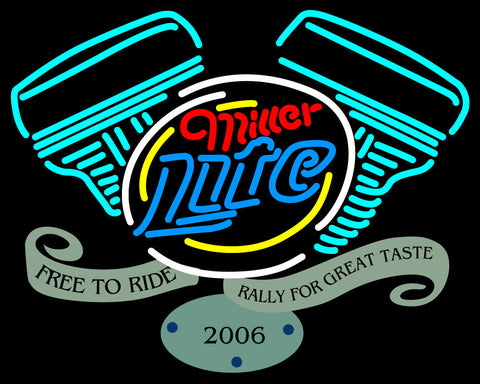 Miller Lite Free To Ride Rally For Great Neon Sign