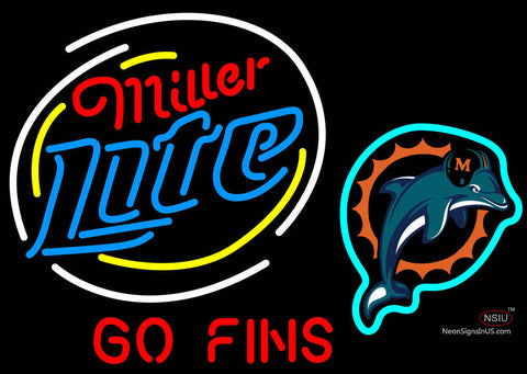 Miller Lite Go Miami Dolphins NFL Neon Beer Signs