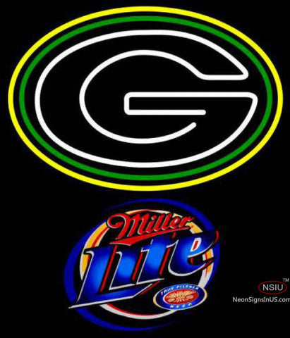 Miller Lite Green Bay Packers NFL Neon Sign
