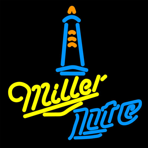 Miller Lite Lighthouse Lounge Neon Sign 16x16