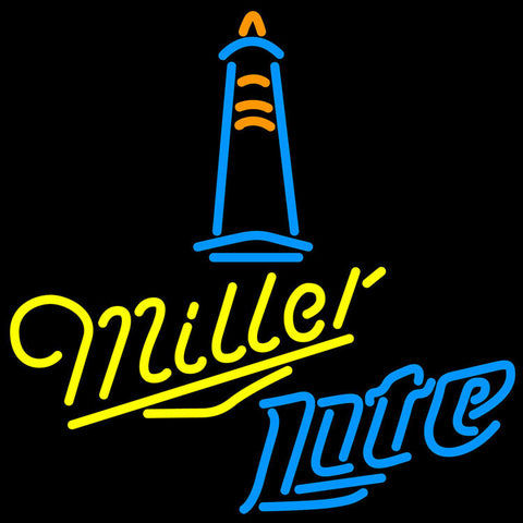 Miller Lite Lighthouse Lounge Neon Sign 24x24