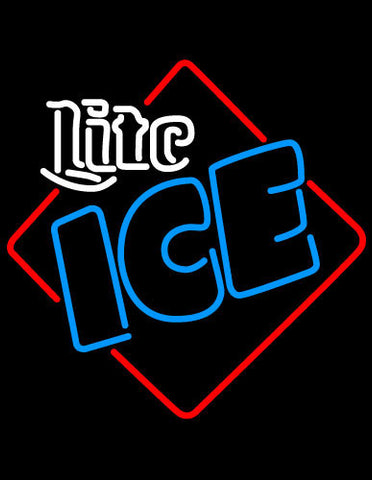 Miller Lite Ice Square Neon Beer Sign