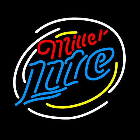 Miller Lite Circle Dual Neon Beer Sign 24x24
