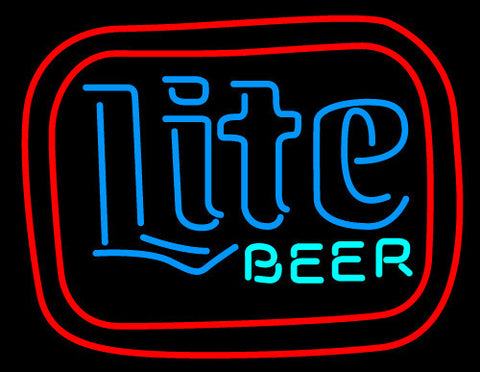 Miller Lite Double Square Neon Beer Sign