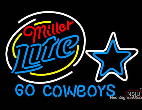 Miller Lite Go Dallas Cowboys NFL Neon Beer Sign With Custom