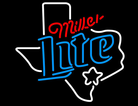 Miller Lite Dallas Texas Star Logo Neon Beer Sign